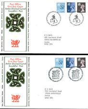Amlen Diwrnod Cyntaf Swyddfa`r Post   x 4 FDCs, vgc with  Cards.