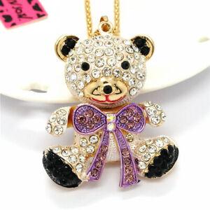Purple Rhinestone Lovely Bow Bear Baby Pendant Betsey Johnson Chain Necklace