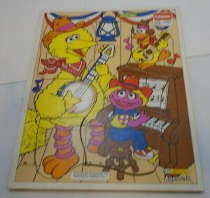 Big Bird Sesame Street Playskool VTG Wooden Jigsaw Kids Puzzle Wood Frame Tray