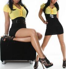 SeXy Damen Bluse Rüsche Pencil Mini Kleid Dress schwarz gelb Gürtel 34/36/38 NEU