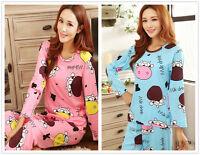 Cartoon Cow Pajama Sets Women's Nightdresses Sleepshirt Sleepwear Nightshirt