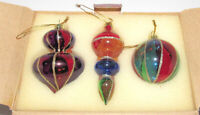 3 Avon Holiday Treasures Ornaments Stained Glass Style Teardrop Lantern Ball