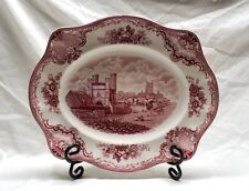 """JOHNSON BROTHERS China OLD BRITAIN CASTLES PINK RED 14"""" PLATTER"""
