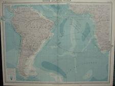 1920 CARTA di grandi dimensioni ~ Sud Oceano Atlantico Brasile Argentina le correnti oceaniche rotte