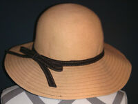 Sun Hat Wide Brimed Womens 100% Wool Felt Tan with Brown Bow Kentucky Derby Hat