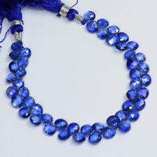 "Gem Sapphire Blue Kyanite Faceted Heart Briolette Beads 6"" Strand"