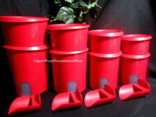 Tupperware ~ New  Set of 8 4~Red Reminder Canisters with 4~Red Toppers 4 ~Scoops
