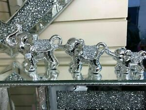 SILVER SET OF ELEPHANTS SPARKLE BLING ORNAMENT CRUSHED DIAMONDS NEW_UK