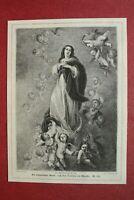 ZCf) Holzstich Himmelfahrt Mariä 1873 Gemälde Murillo Engel Religion 13x18cm