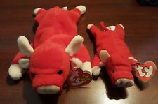 Snort TY Beanie Baby RETIRED WITH ERRORS and Small Snort