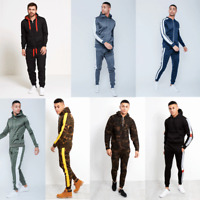 JUSTYOUROUTFIT MENS MARL FLEECE ZIP THROUGH & ASYMMETRICAL STRIPED TRACKSUIT