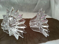Elegant Lead Crystal Pair Clear Glass Star Points Taper Candle Holder 2""