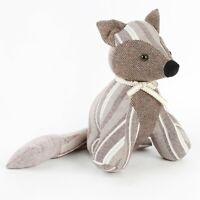 Vintage Grey | Brown Stripe Door Stop -  Fabric Fox or Pug Dog Doorstop