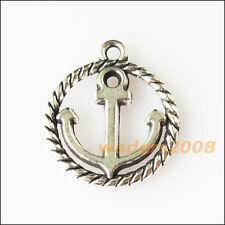 10 New Round Circle Anchor Tibetan Silver Tone Charms Pendants 15.5x18mm