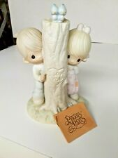 Vintage 1979 Precious Moments Thee I Love - Boy & Girl - Carved Tree with Heart