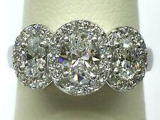 18K White Gold Oval Diamond 3 Stone Halo Engagement Ring F VS