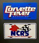 (2) Corvette License Plates: NCRS National Corvette Restorers Society & Fever