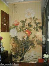 Fabric Screen Curtain Room Divider with Chinese Painting Peony Home Decor M2-R4