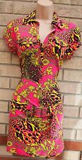 Modo rose jaune Leopard Baroque boutonnée Belted Bodycon Tube robe sexy 10