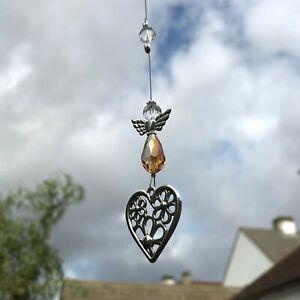 New Hanging Sun Catcher Guardian Angel and Heart ~ Orange ~ Memorial Mum Dad Nan