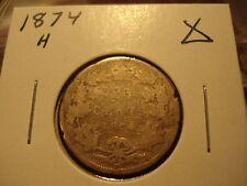 1874 H - Canada 25 cent - circulated Canadian quarter