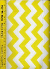 """QUILT FABRIC: 100% COTTON, YELLOW 1"""" CHEVRON STRIPE, By The Yard"""