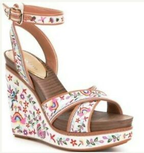 Women's Gianni Bini Lusia Floral Embroidered Wedge Sandals ~ 9M
