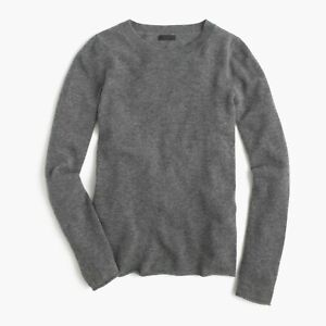NWT J. CREW Collection Italian 100% CASHMERE Charcoal Tee Sweater Pullover L
