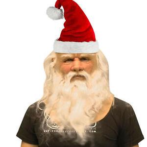 Funny Santa Claus Full Latex Mask Wig Beard Christmas Holiday Soft Santa Mask