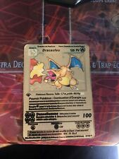Pokemon 1st Edition Dracaufeu Set De Base Carte Métal Gold / Gold Métal Cart
