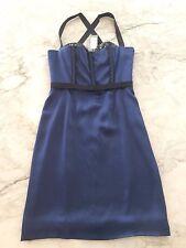 NWT $1950 PROENZA SCHOULER BLUE BLACK SILK SEQUIN CORSET COCKTAIL DRESS 4 - 6