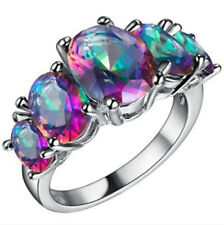 HOT Women Multi-Color Gemstone Crystal Silver Wedding Ring Jewelry Size 9