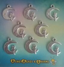 ❤  Cat on Moon Charms (new style) ❤ Pack of 8 ❤CRAFTING/JEWELLERY❤COMBINED P&P❤