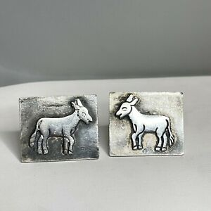 Vintage Signed Rancho-Alegre 925 Sterling Silver Taxco Donkey Cuff Links