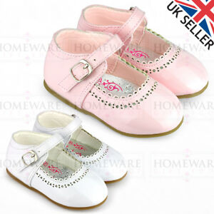 SPANISH SHOES BABY GIRLS MARY JANE SHINY PATENT SHOES BUCKLE WHITE PINK RED