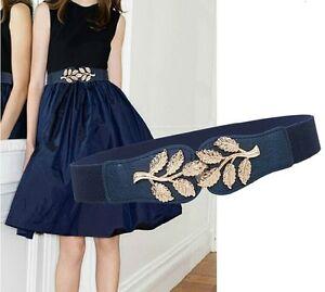 Women girls fashion golden leaves buckle decorative elastic stretch waist belt