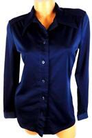 Bradley midnight blue long sleeve folded collar slinky stretch vintage top 15/16
