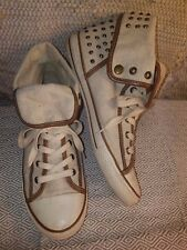 ALDO WOMENS CANVAS HIGH TOP STUDDED SNEAKERS TENNIS SHOES SZ 41. NEW CNDTN!!