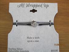 NEW All Wrapped Up Sterling Silver Adjustable Crystal Bracelet Set Star & Disc