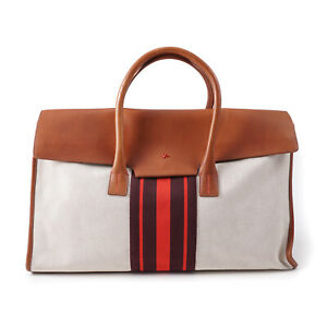 ISAIA Canvas and Leather Carryall Weekender Bag with Stripe Detail NWT $3845