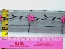 Insertion Lace Trim Flower Embroidered Organza Lace 2 yds Black Hot Pink #G3