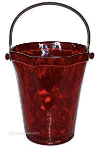 Fenton Diamond Optic Ruby / Red  #1502 Large Ice Bucket with Metal Handle