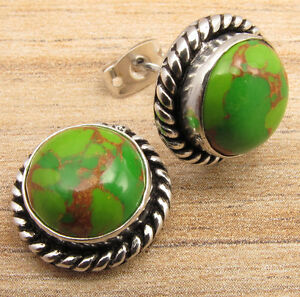 GREEN COPPER TURQUOISE Earrings ! 925 Silver Plated WOMEN'S OLD STYLE Jewelry