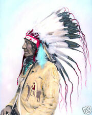 """CHIEF LOW DOG NATIVE AMERICAN INDIAN OGLALA 1881 8x10"""" HAND COLOR TINTED PHOTO"""
