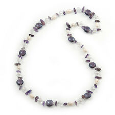 Amethyst Stone, Freshwater Pearl & Glass Bead Long Necklace - 80cm Length