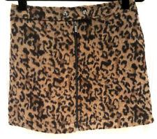 NEXT Retro Mini Leopard Print A line Short Skirt Faux Fur Pockets Size 12 Fluffy
