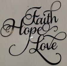 "Word Script Decor 24"" New ""Faith Hope Love""  Metal Cutout Sign black  Wall Door"