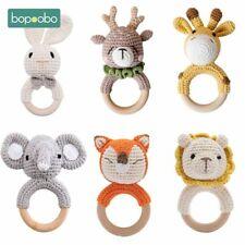 Safe Crochet Baby Teether Rattle Cute Diy Toy Wooden Bracelet Ring For Children