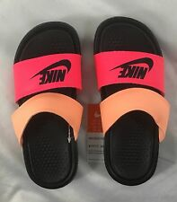 sneakers for cheap 70d66 c1c1a Nike Women s Sandals Benassi Duo Ultra Slide Black Pink Peach Size 6