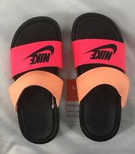 Nike Women's Sandals Benassi Duo Ultra Slide Black Pink Peach Size 6